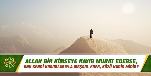 Allah bir kimseye hayır murat ederse, onu kendi kusurlarıyla meşgul eder, sözü hadis midir?