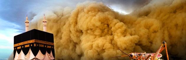 Mekke'deki kum fırtınası ve çekirge istilası neyin alametidir?